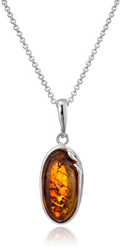 Sterling Silver Honey Amber Oval Pendant Necklace , 18""