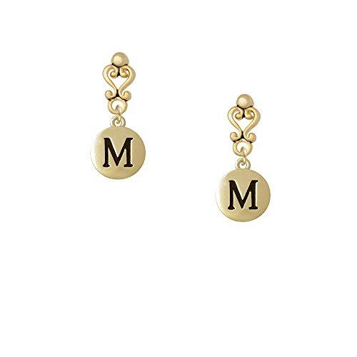 Capital Gold Tone Letter - M - Pebble Disc - Gold Tone Filigree Heart Earrings
