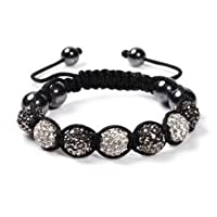 Black And Silver Unisex Shamballa Bracelet Crystal Disco Ball Friendship Bead Swarovski Crystals Beads Bracelets by Gadgets And Gifts Galore ®
