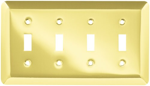 BRAINERD 126530 Stamped Round Quad Switch Wall Plate / Switch Plate / Cover, Polished Brass