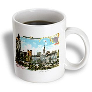 Bln Vintage New York City Collection - New York City Hall And Central Park Vintage Scene - 11Oz Mug (Mug_170444_1)
