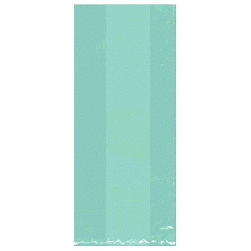 "Amscan Festive Large Cellophane Party Bags, 11-1/2 x 5 x 3-1/4"", Robins Egg Blue"