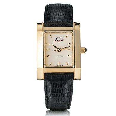 Chi Omega Women's Gold Quad Watch with Leather Strap (Chi Omega Watch compare prices)