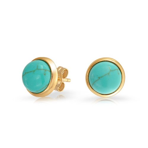 Bling Jewelry 925 Silver Gold Vermeil Round Turquoise Stud Earrings
