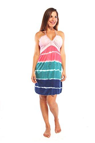 Ingear Beach Dress Short Tie Dye (Medium, Pink/Blue)
