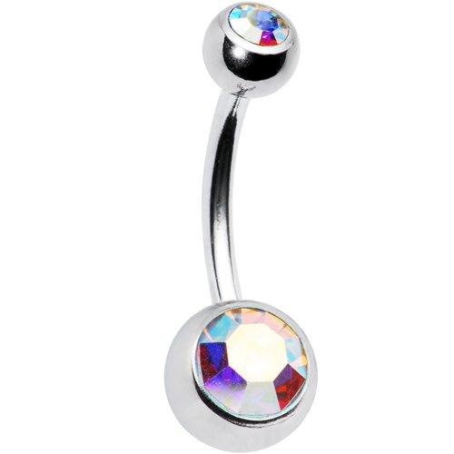 Swarovski Aurora Double Gem Belly Button Ring