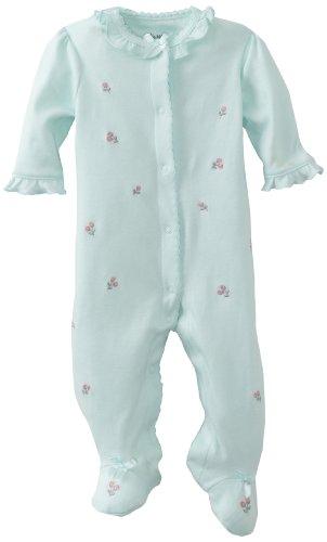 Little Me Baby Girl Newborn Rosebud Footie, Aqua, 3 Months front-911922