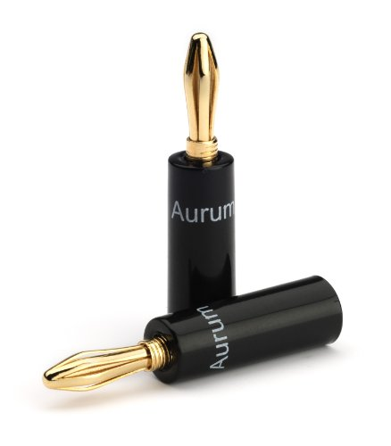 Aurum Cable Banana Plugs - 24K Gold Plated Connector Banana Plugs - 12 Pack