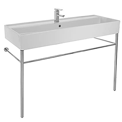 Large Rectangular Console Ceramic Sink and Polished Chrome Stand