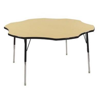 Ecr4kids 60 flower shape activity table toddler legs w swivel glides maple top black edge - Table glides for legs ...