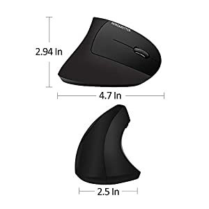 More&Better Wireless Vertical Mouse 2.4G USB Rechargeable Ergonomic Optical Computer Mouse, Black (Color: Black Wireless Vertical Mouse)