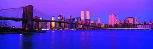 Panoramic Wall Decals - New York City Skyline With The Brooklyn Bridge 2 (4 Foot Wide Removable Graphic) front-1058106