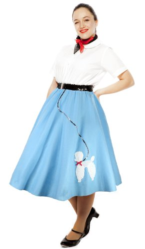 Hey Viv ! 50s Blue Felt Poodle Skirt & Crinoline Slip Combo Sock Hop Set (Medium/Large) (Grease Inspired Dress compare prices)