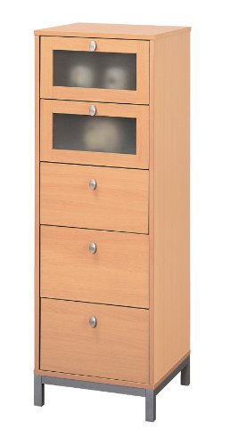 Furniture Of America Keller 5-Drawer Chest With Tempered Glass, Beech