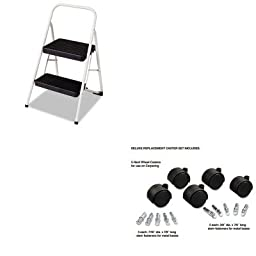 KITCSC11135CLGG1MAS23622 - Value Kit - Master Caster Deluxe Casters (MAS23622) and Cosco 2-Step Folding Steel Step Stool (CSC11135CLGG1)