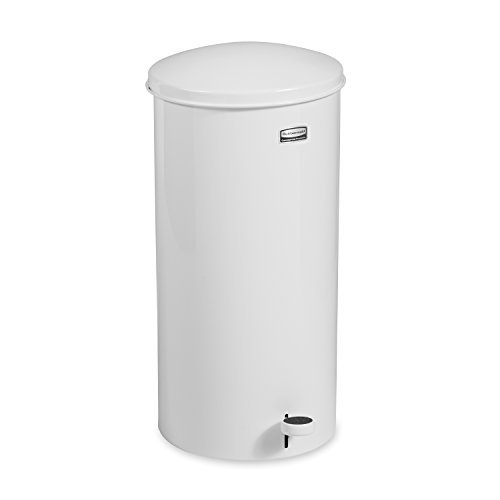 Rubbermaid Commercial FGST5EGLWH The Defenders Steel Step Trash Can with Galvanized Liner, 5-Gallon, White (Step Trash Can 5 Gallon compare prices)