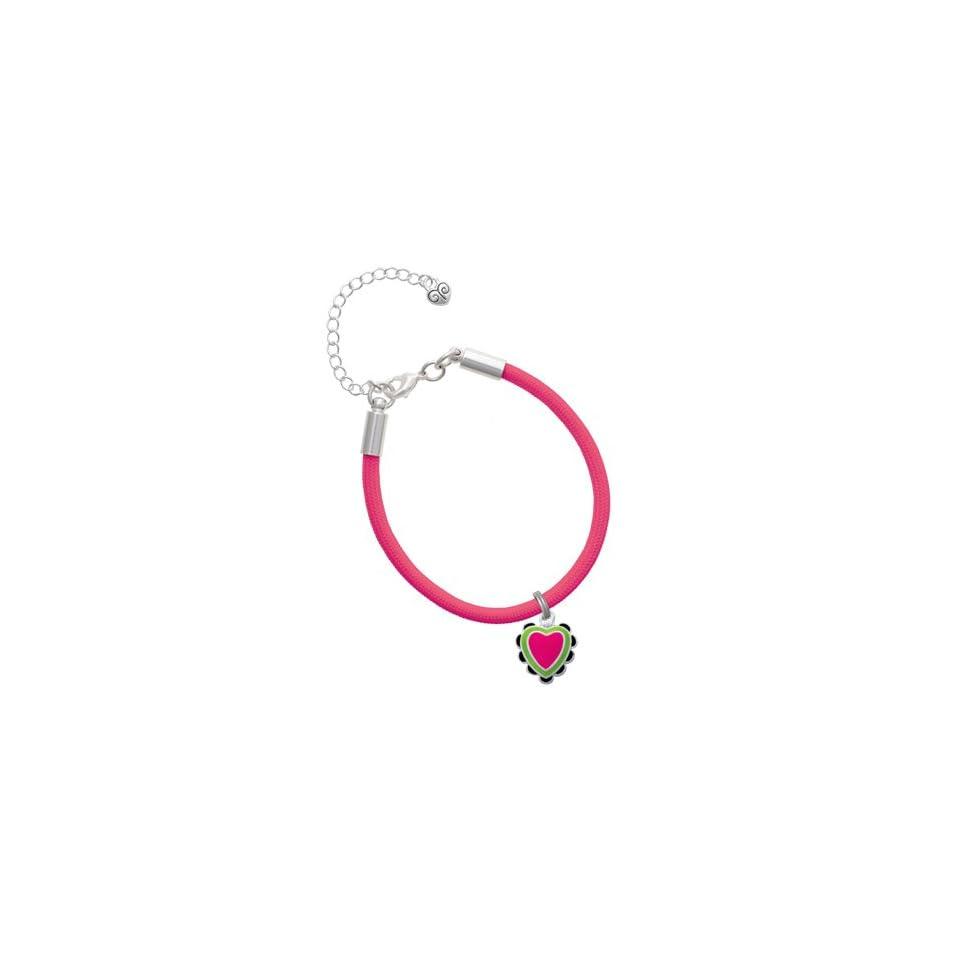 Hot Pink & Lime Green Heart with Black Ruffles Charm on a Hot Pink Malibu Cha