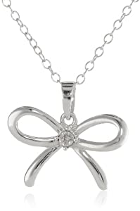 Sterling Silver Diamond-Accent Bow Pendant Necklace