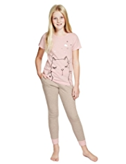 Pure Cotton Cat Print Pyjamas