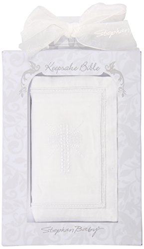 Stephan Baby Inspirational Keepsake Bible with Embroidered Cover and Ribbon-Tie Closure, White