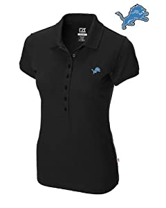 Detroit Lions Ladies Ladies Sweet Spot Skinny Polo Black by Cutter & Buck