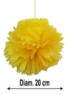 Cotillon d'alsace - Sachet de 3 boules fleurs décoratives 20 cm jaune