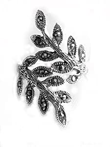 Sterling Silver Ivy Leaf Vine Branch Marcasite Ring Size 6(Sizes 6,7,8,9)
