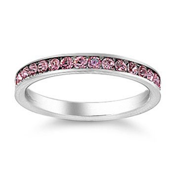 Stainless Steel Eternity Ring with Pink CZ Stones-October Birthstone - Size 9