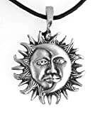Pewter Sun Moon Face Celestial Lunar Solar Pendant, Leather Necklace