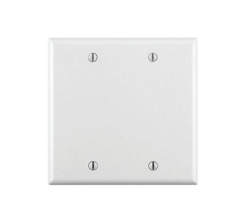 Leviton 88025 2-Gang No Device Blank Wallplate, Standard Size, Thermoset, Box Mount, White