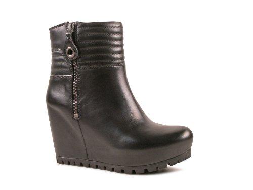 2510G tronchetto zeppa donna nero CAR SHOE VITELLINO SOFT scarpa stivale boots s [37.5]