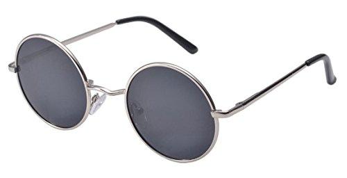 Unisex Metallo Telaio Occhiali da sole rotondi Hippie sfumature retro John Lennon stile (Nero)
