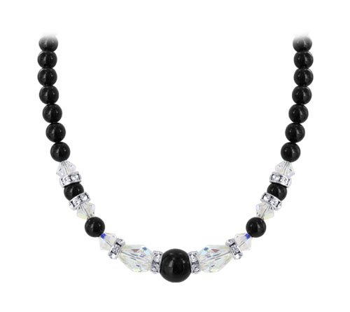 Sterling Silver Black Imitation Pearl & Clear AB Crystal Necklace 22 inch Long Made with Swarovski Elements