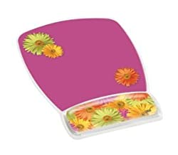 3M Mouse Pad with Gel Wrist Rest, Daisy Design (MW308DS)