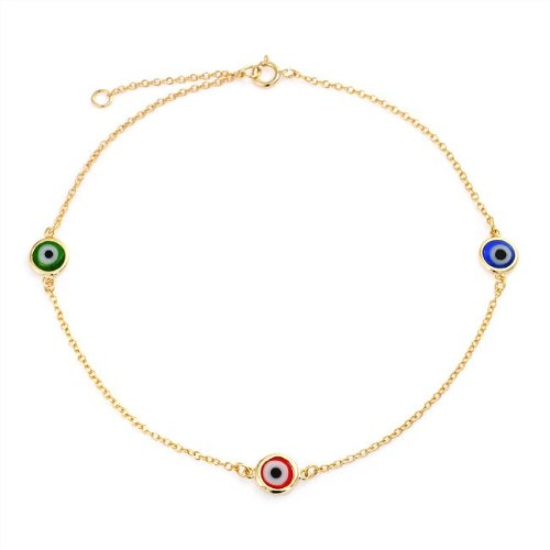 Bling Jewelry Gold Vermeil Multi Color Evil Eye Anklet Bracelet 925 Silver 9in