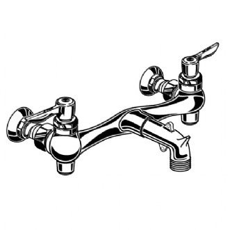 American Standard 8350.235.004 Exposed Yoke Wall-Mount Utility Faucet with Metal Lever Handles, Rough Chrome