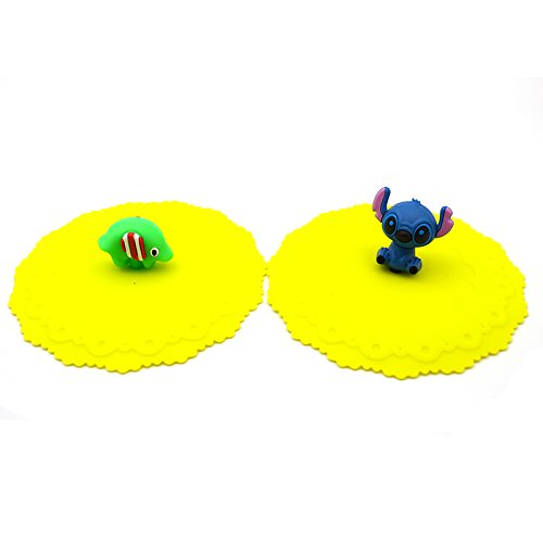 Generic 2Pcs/Set Cute Animal Silicone Leak Proof Seal Lid Cup Cover (Random)