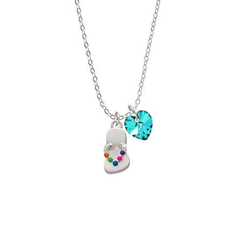 Multicolored Flip Flop - Teal Crystal Heart Sophia Necklace