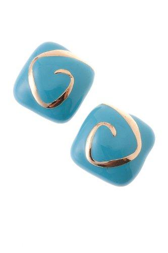 Karmas Canvas Square Plastic Earrings (Lt Blue) front-1067144