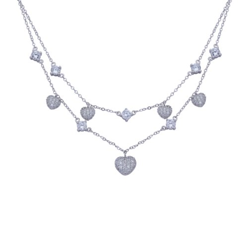 Sterling Silver Cubic Zirconia Double Layered Heart Station Necklace, 18