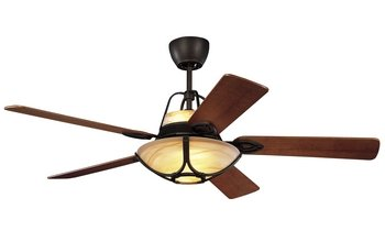 Monte Carlo 5ALR56RBD Alicante 56-Inch 5-Blade Ceiling Fan with Remote, Uplight, Light Kit and Teak Veneer Blades, Roman Bronze