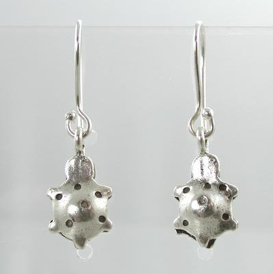 Cute Double Sided Puffy Turtle Dangle Earrings in Sterling Silver, #9495