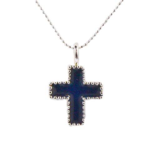 Sterling silver blue enamel cross pendant necklace on 16