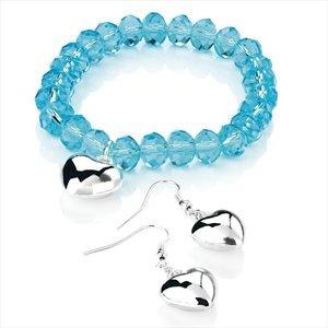 Ladies Elegant Aqua Blue Glass Bead Style Bracelet & Earring Set Brand New