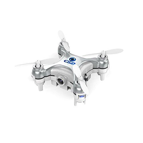 Metakoo CX-10W mini drone con wifi,cámara HD,Luz LED control por móvil IOS/Android en ,grabar video en tiempo real,4 canales,girocopios de 6 ejes-Plata