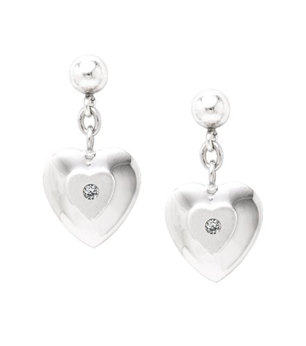 Sterling Silver Diamond Drop Stamped Heart Earrings