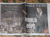 Ny Daily News - Barack Obama World Of Hope 11/6/08
