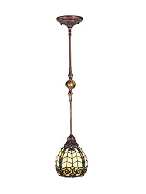 Dale Tiffany TH100876 Raphael Pendant Light Lamp, Antique Golden Sand and Art Glass Shade by Dale Tiffany Lamps