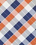 BAXBO Men's Microfiber Blow Up Novelty Pillow Tie (Hidden Inflatable Tube) Plaid Orange Navy White