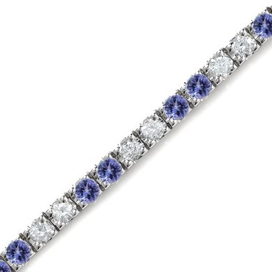 2 CT Tanzanite & Diamond Bracelet 14K White Gold
